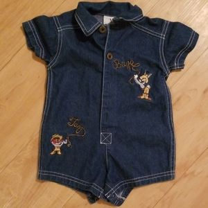 Looney tunes jean romper with snap bottom